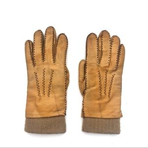 Mustard Golden Leather Acrylic Cuff Moto Gloves